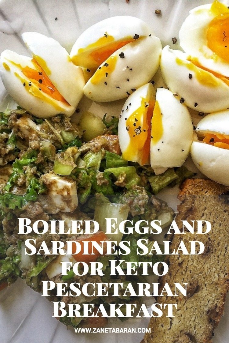 Print Boiled Eggs and Sardines Salad for Keto Pescetarian Breakfast