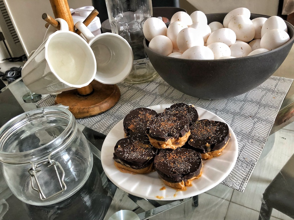 Healthy Keto Vegan Frozen Peanut Butter And Chocolate Cookies With Chia Seeds And No Sugar Plate