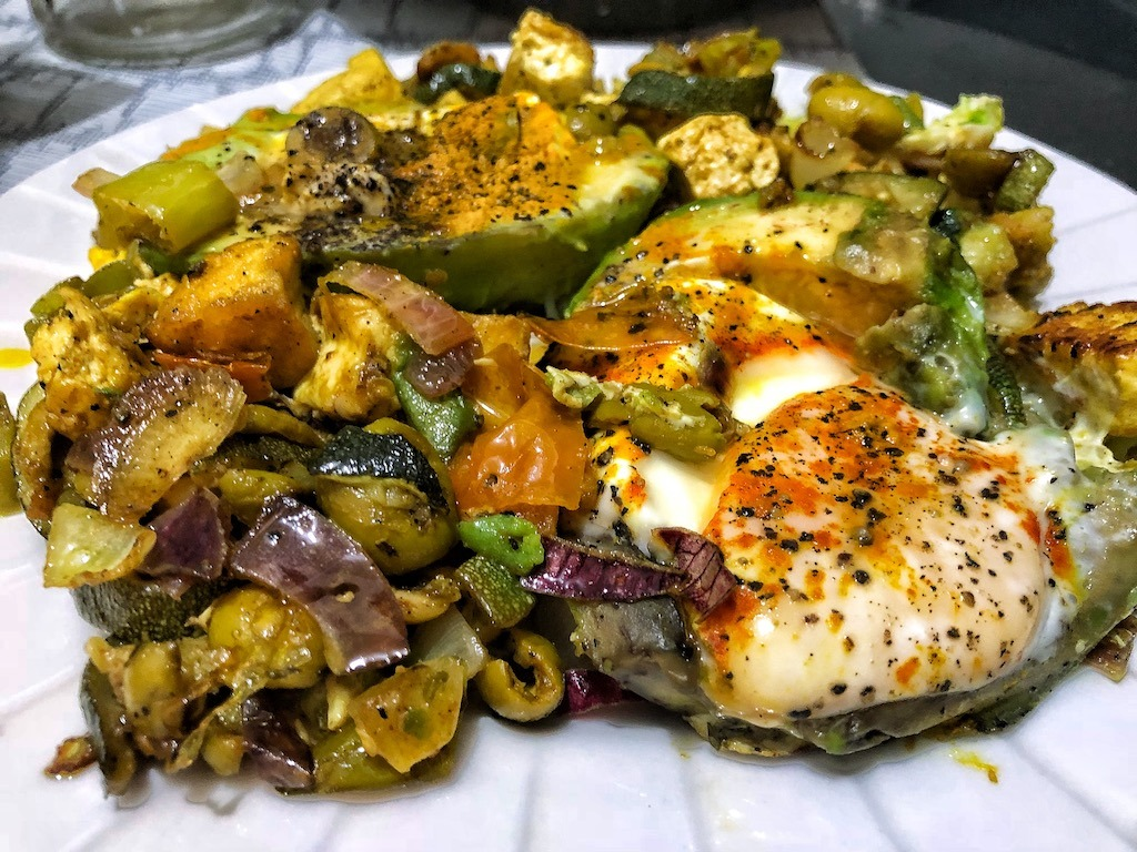Healthy Keto Vegetarian Egg Avocados With Grilled Zucchini And Tofu