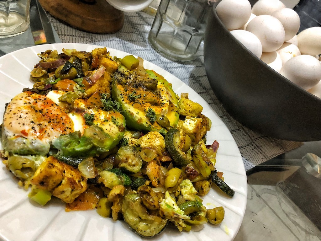 Healthy Keto Vegetarian Egg Stuffed Avocados With Grilled Zucchini And Tofu