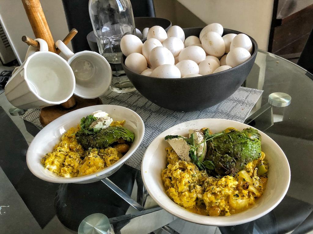 Healthy Keto Vegetarian Scrambled Eggs With Avocado And Cream Cheese Breakfast