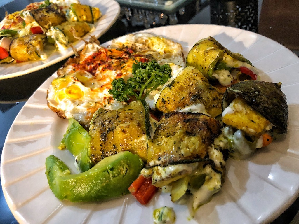 Healthy Low Carbs Keto Vegetarian Zucchini Rolls With Fried Eggs Avocado Cream Cheese