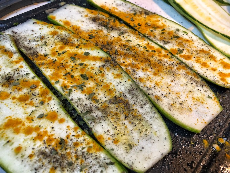 Healthy Low Carbs Keto Vegetarian Zucchini With Fried Eggs And Avocado