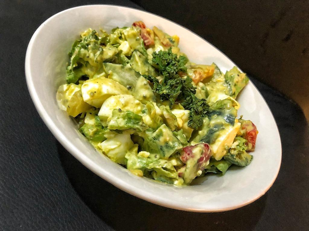 Healthy Salad With Avocado Dip And Eggs For Quick And Light Dinner Based On Polska Salatka Jarzynowa