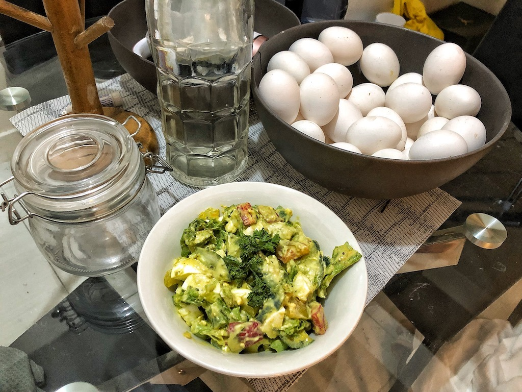 Healthy Salad With Avocado Dip And Eggs For Quick And Light Dinner Breakfast Idea