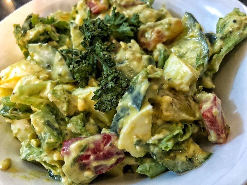 Healthy Salad With Avocado Dip And Eggs For Quick And Light Dinner Delicious