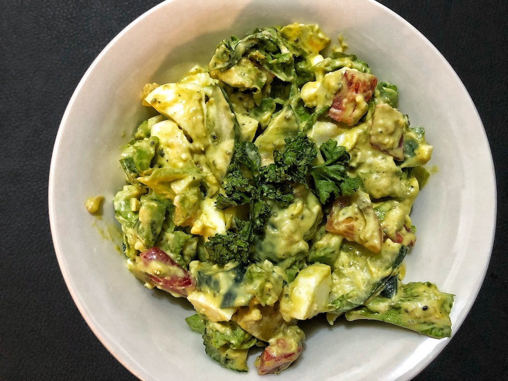Healthy Salad With Avocado Dip And Eggs Quick