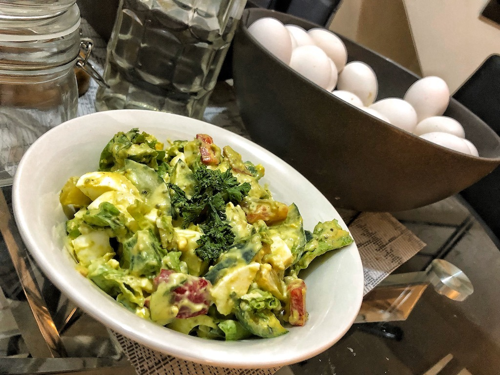 Healthy Salad With Avocado Dip And Eggs