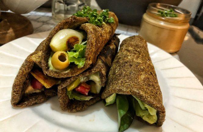 Healthy Vegan Gluten Free Keto Low Carbs Flaxseed Wraps