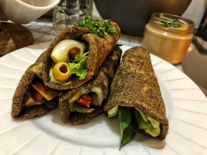 Healthy Vegan Gluten Free Keto Low Carbs Flaxseed Wraps Or Spring Rolls With Vegetables And Tofu