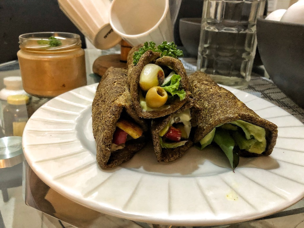 Healthy Vegan Gluten Free Keto Low Carbs Flaxseed Wraps Or Spring Rolls Tofu