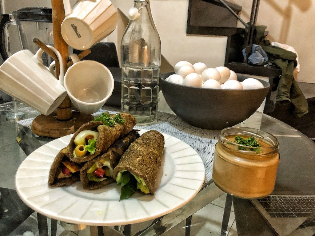 Healthy Vegan Gluten Free Keto Low Carbs Flaxseed Wraps Or Spring Rolls With Vegetables And Tofu Asian