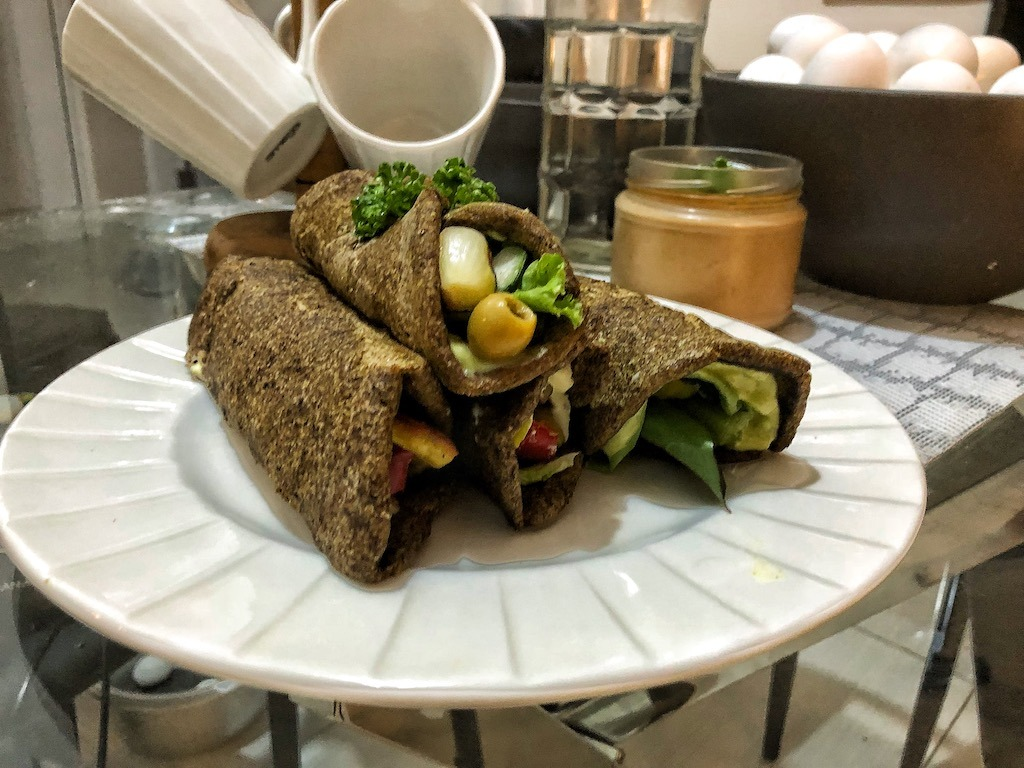 Healthy Vegan Gluten Free Keto Low Carbs Flaxseed Wraps Or Spring Rolls With Vegetables And Tofu Ready Wraps Vegetarian