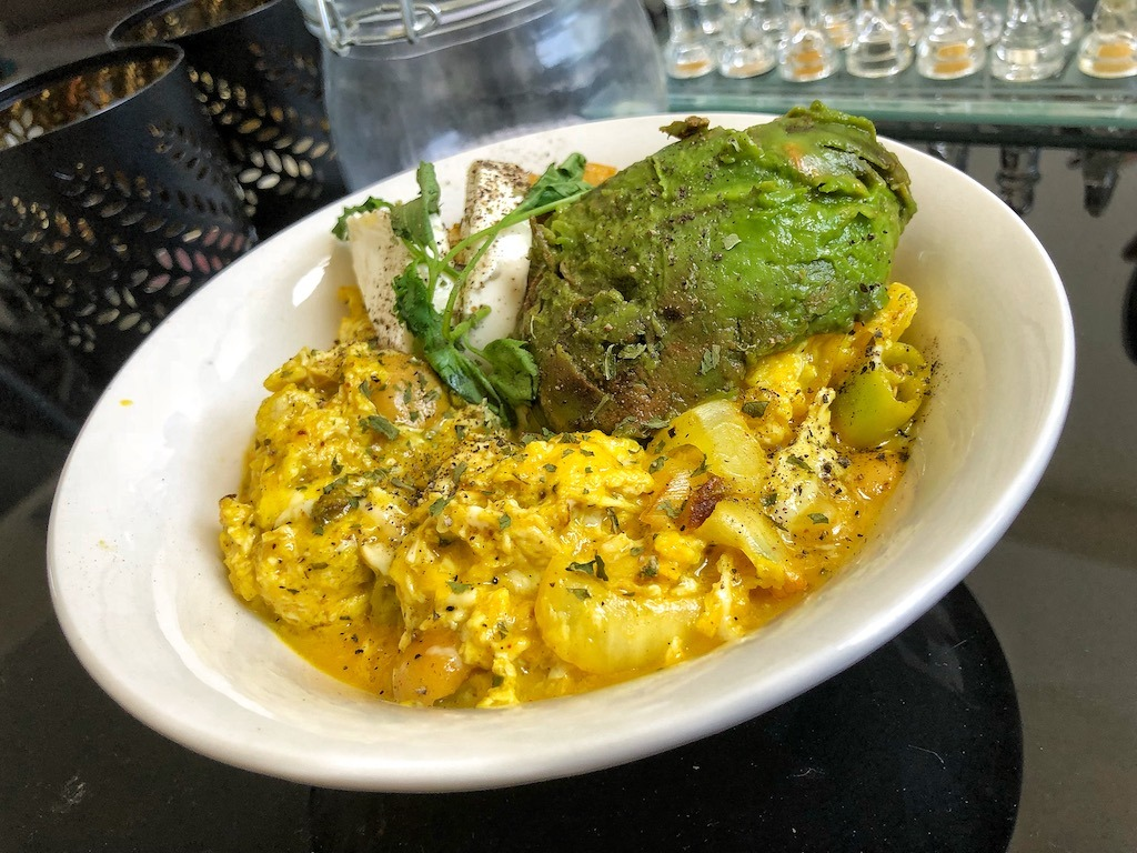 Healthy Vegetarian Scrambled Eggs With Avocado And Cream Cheese