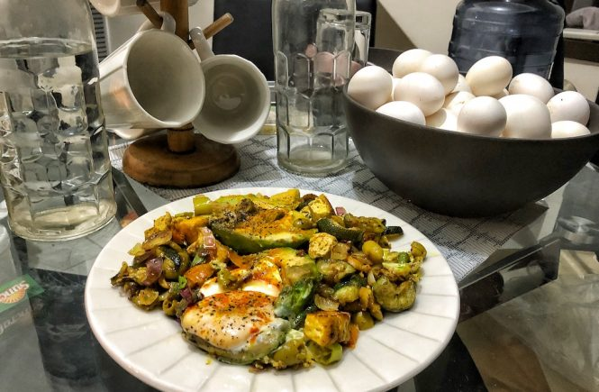 Keto Vegetarian Egg Stuffed Avocados With Grilled Zucchini And Tofu