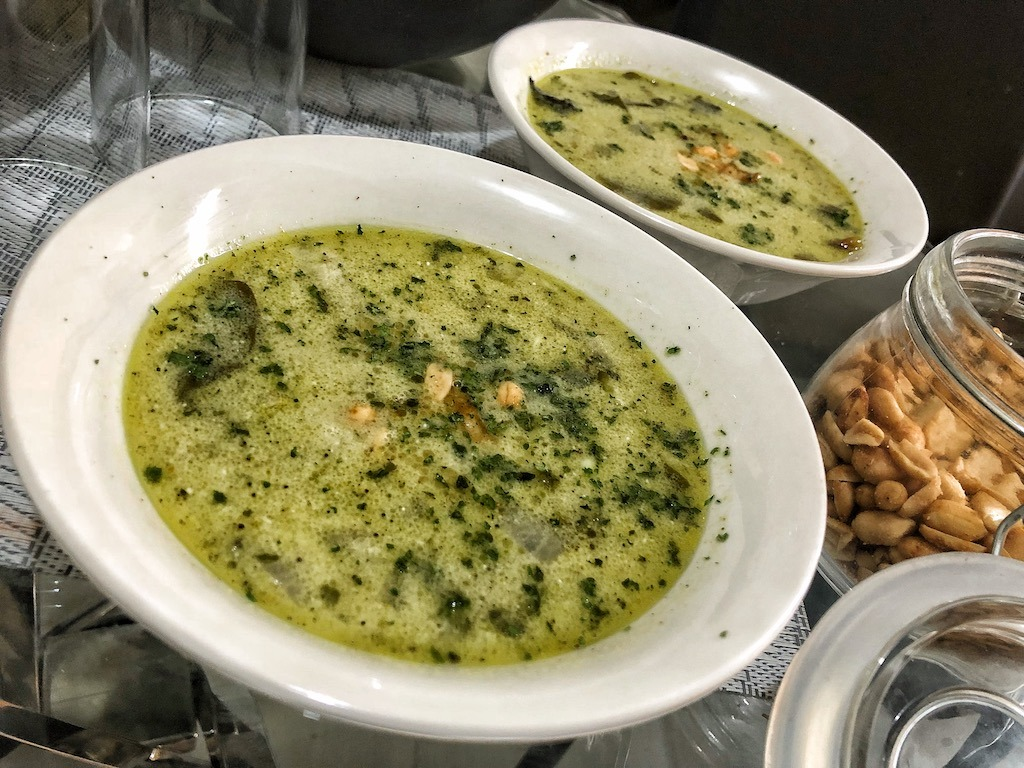 Healthy Avocado Soup With Shrimps And Coconut Milk For Lunch And Dinner