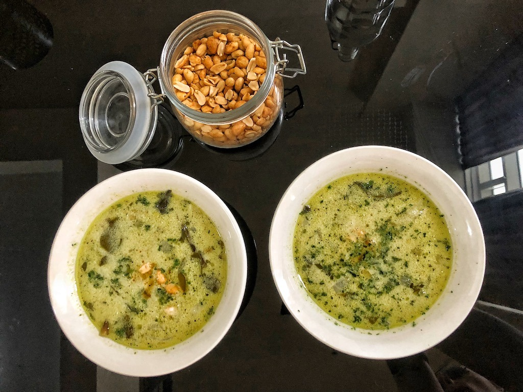 Healthy Keto Avocado Soup With Shrimps And Coconut Milk For Lunch And Dinner Shrimps copy