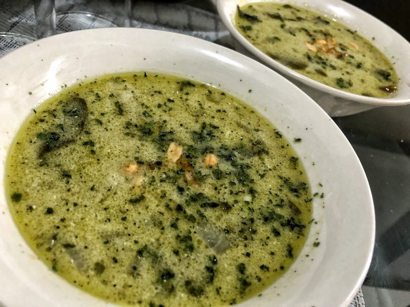 Healthy Keto Avocado Soup With Shrimps And Coconut Milk For Lunch And Dinner