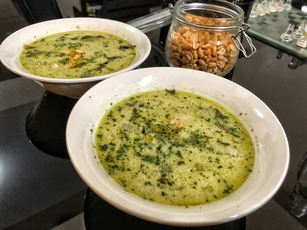 Healthy Keto Avocado Soup With Shrimps And Coconut Milk Lunch And Dinner