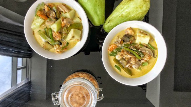Vegetables With Shrimps In Coconut Milk For Lunch Or Dinner For 2 People