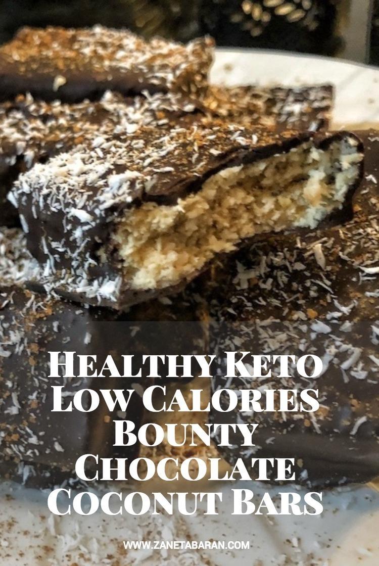 Pinterest Healthy Keto Low Calories Bounty Chocolate Coconut Bars