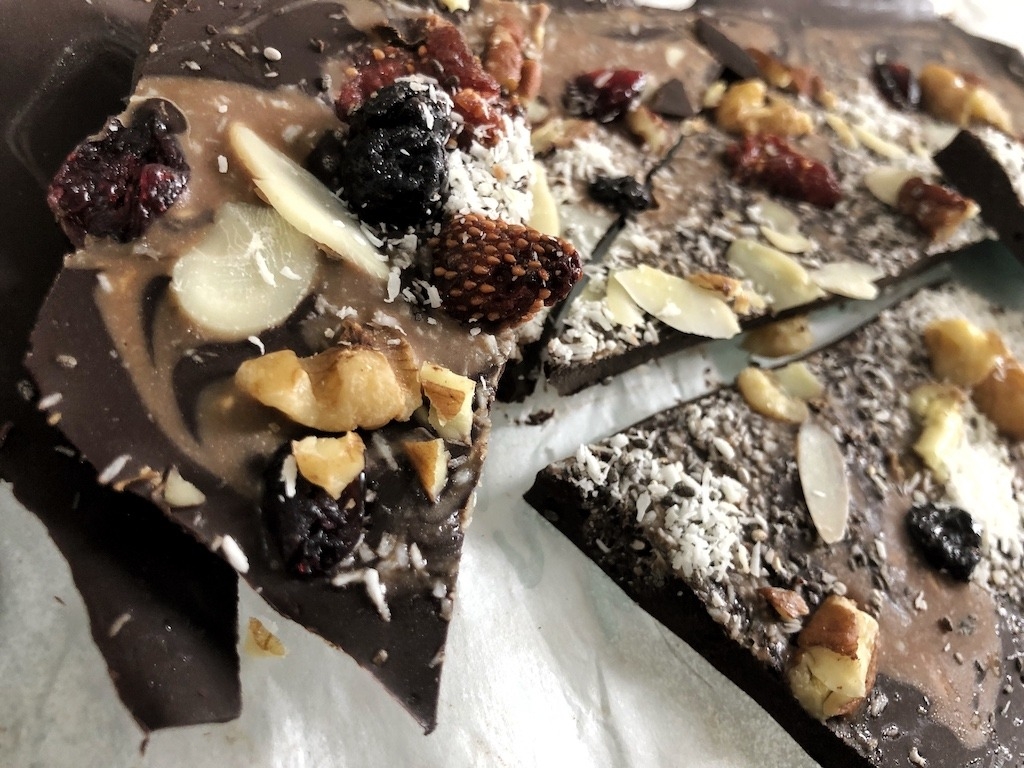 Dark Chocolate Pieces - Homemade Healthy Keto Quick Dessert Broken