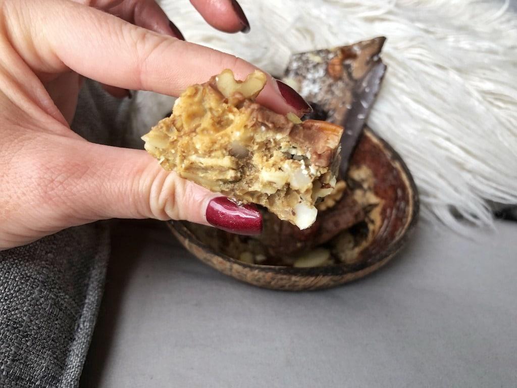 Granola Bar Snack - Homemade Vegan Paleo Keto No Sugar Quick Snack
