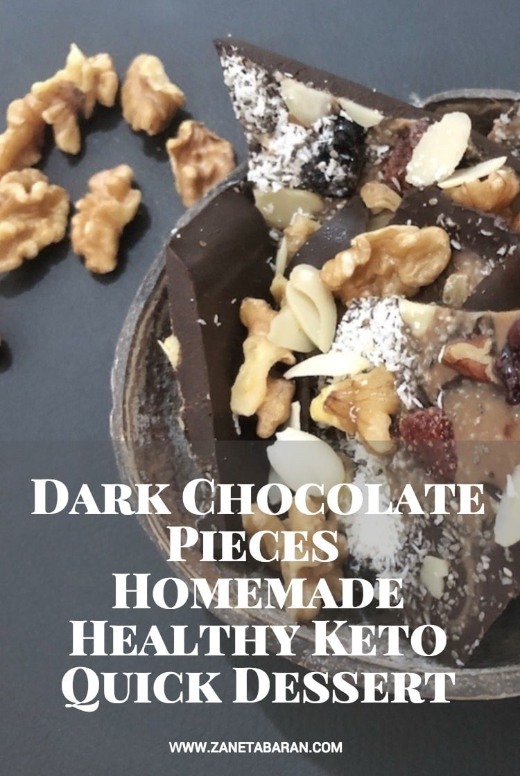 Pinterest Dark Chocolate Pieces - Homemade Healthy Keto Quick Dessert