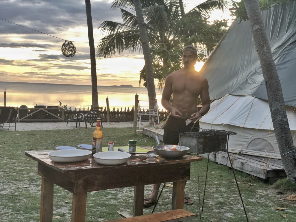 Where to stay when travelling to Siquijor – Glamping Siquijor Preparing Dinner