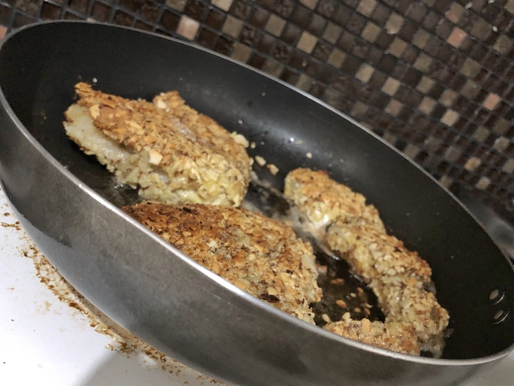 Healthy Keto Fried Chicken And Fish In Almonds Frying
