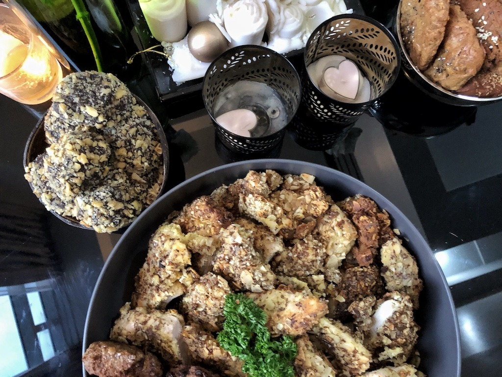 Healthy Keto Fried Chicken And Fish In Almonds Party Ready