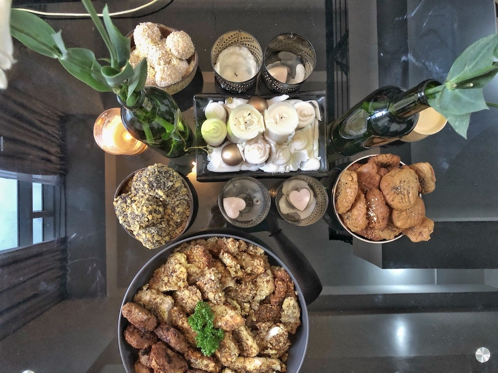 Healthy Keto Fried Chicken And Fish In Almonds Party Table