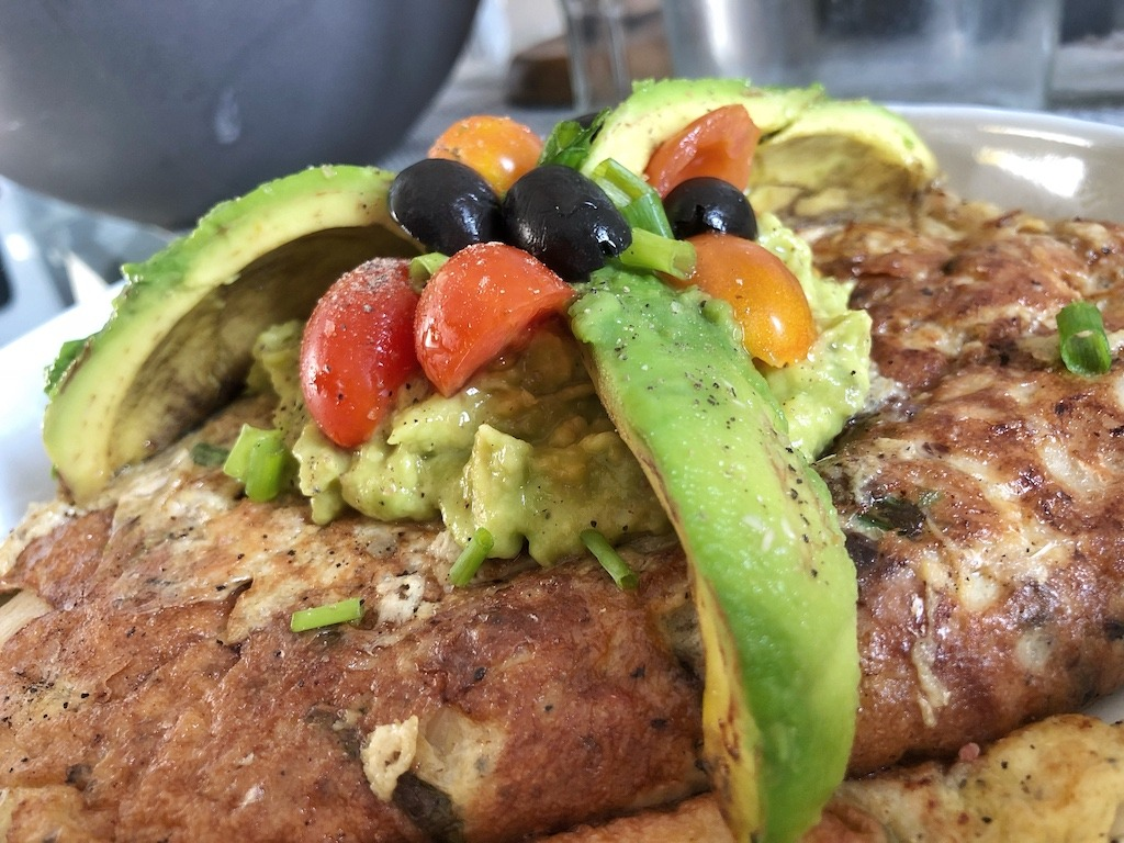 Healthy Omelette With Canned Sardines And Avocado For Healthy Keto Pescatarian Breakfast