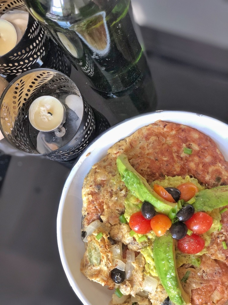 Omelette With Canned Sardines And Avocado For Healthy Keto Breakfast