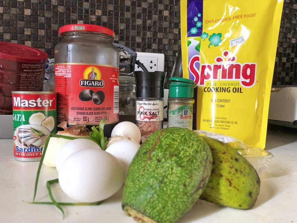 Omelette With Canned Sardines And Avocado For Healthy Keto Pescatarian Breakfast Ingredients