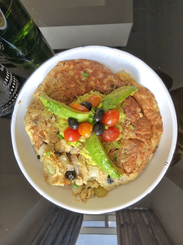 Omelette With Canned Sardines And Avocado For Healthy Keto Pescatarian Breakfast Party Snack