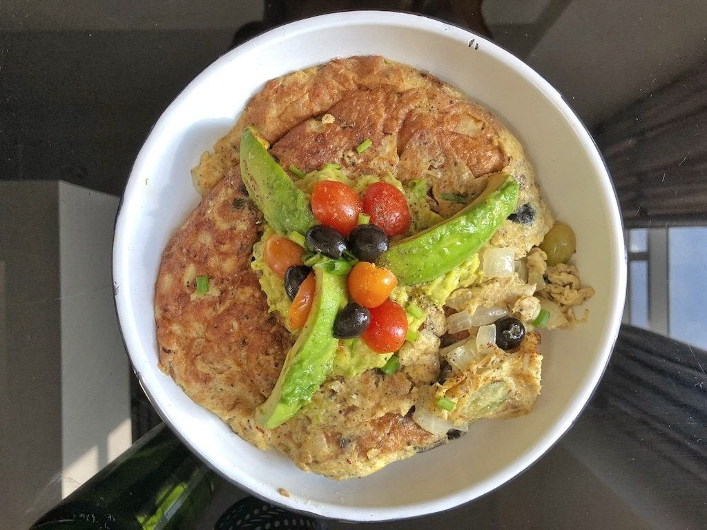 Omelette With Canned Sardines And Avocado For Healthy Keto Pescatarian Breakfast Snack
