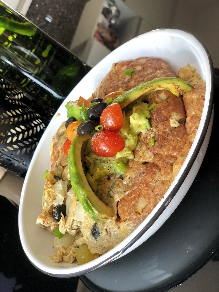Omelette With Canned Sardines And Avocado For Healthy Keto Pescatarian Breakfast Summer
