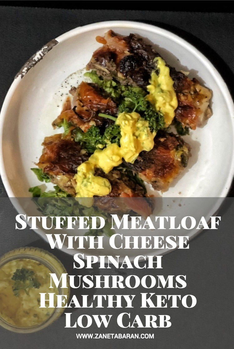 Pin Stuffed Meatloaf With Cheese Spinach Mushrooms - Healthy Keto Low Carb