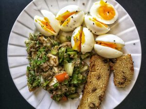 Boiled Eggs and Sardines Salad for Keto Pescatarian Breakfast